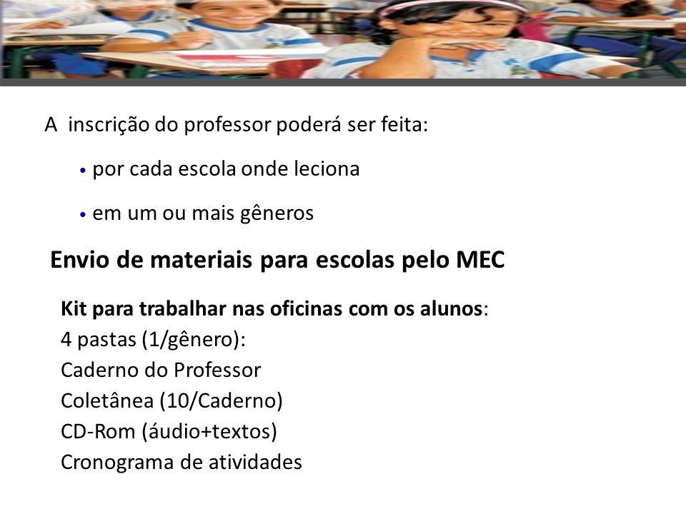 Envio de materiais para escolas pelo MEC