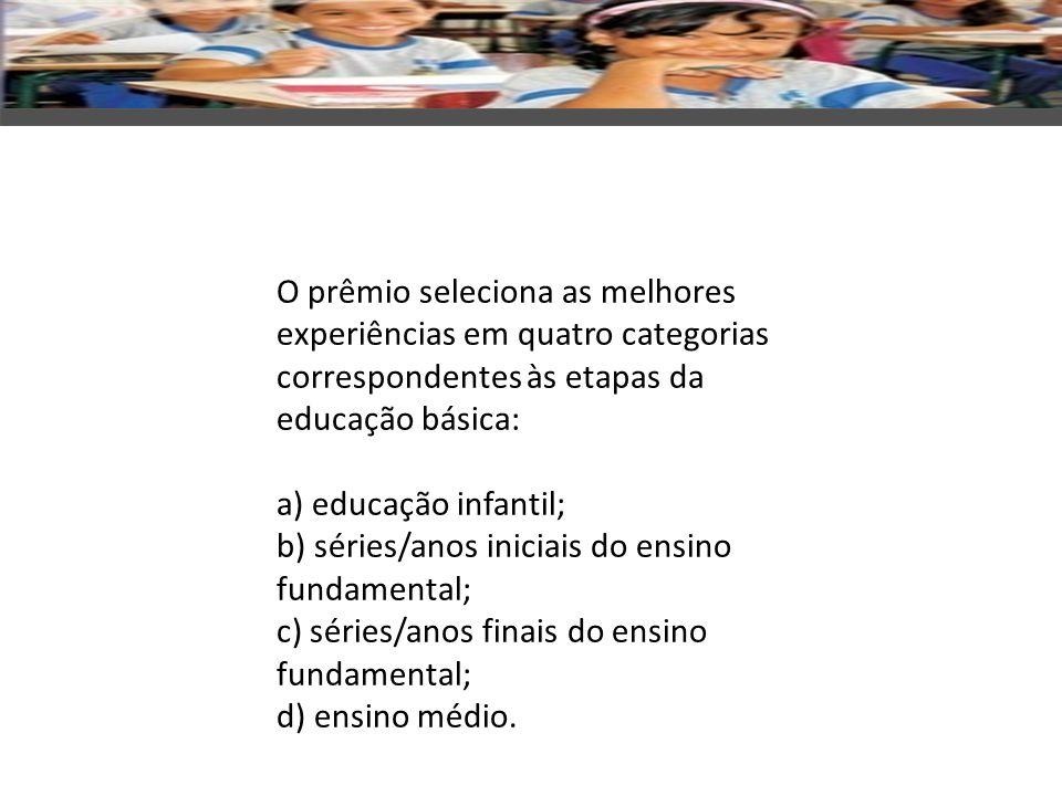 O prêmio seleciona as melhores experiências em quatro categorias correspondentes às etapas da educação básica: