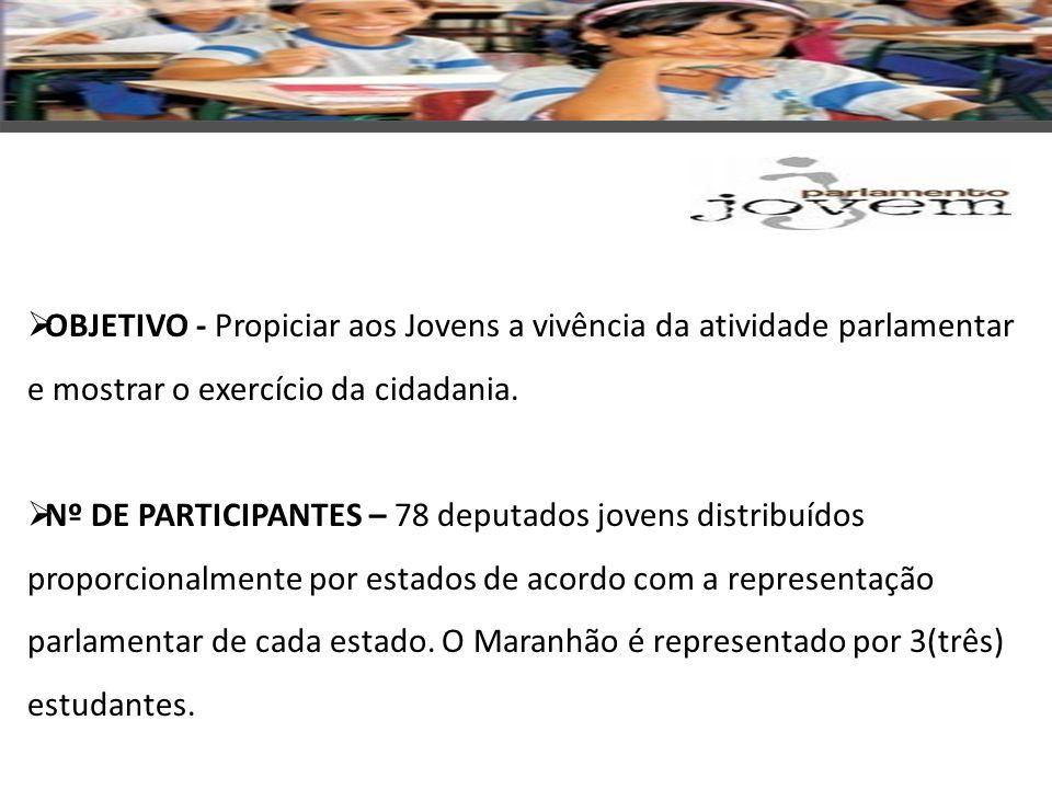 OBJETIVO - Propiciar aos Jovens a vivência da atividade parlamentar e mostrar o exercício da cidadania.