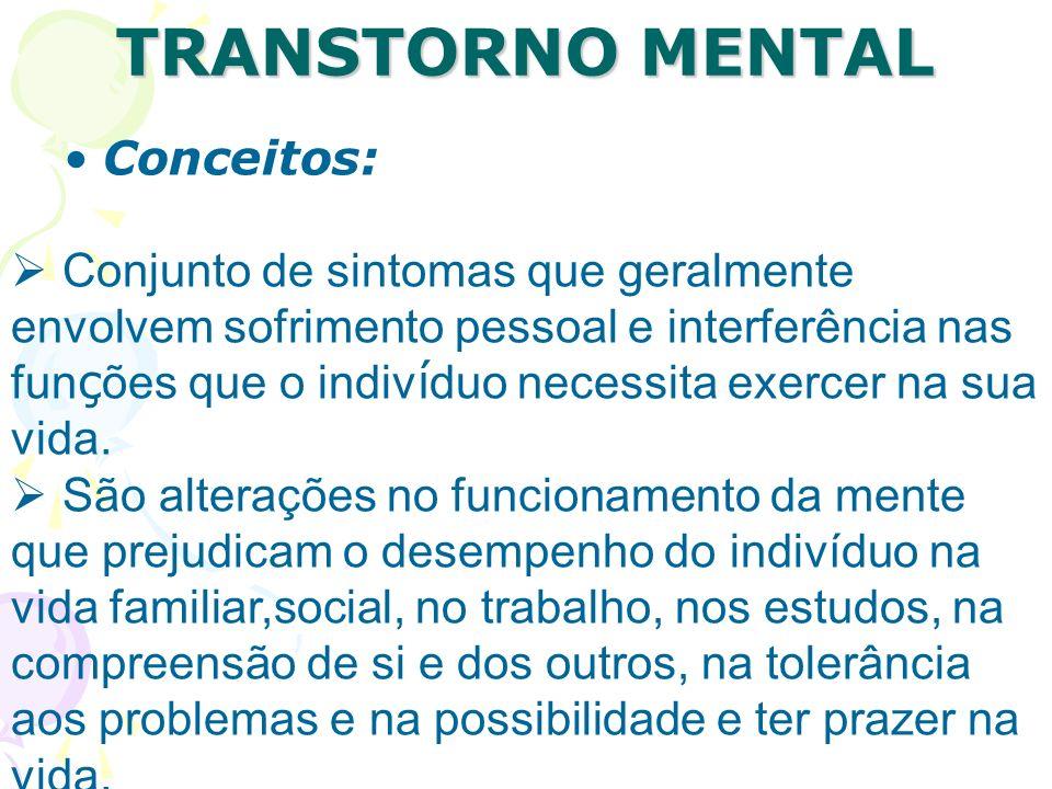 TRANSTORNO MENTAL Conceitos: