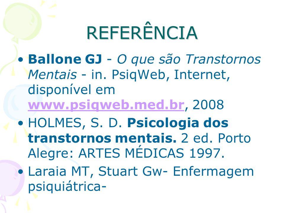 REFERÊNCIA Ballone GJ - O que são Transtornos Mentais - in. PsiqWeb, Internet, disponível em www.psiqweb.med.br, 2008.