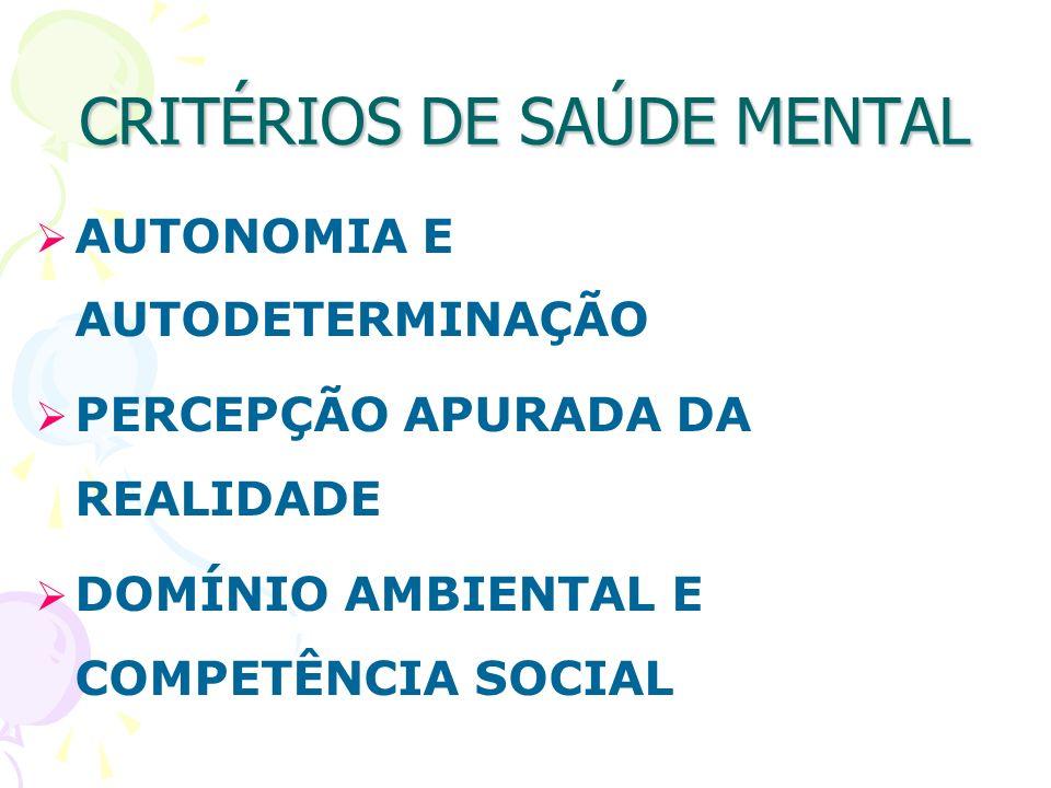 CRITÉRIOS DE SAÚDE MENTAL