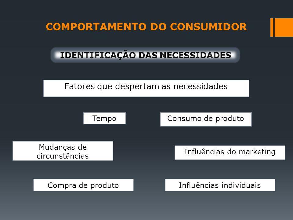 COMPORTAMENTO DO CONSUMIDOR IDENTIFICAÇÃO DAS NECESSIDADES