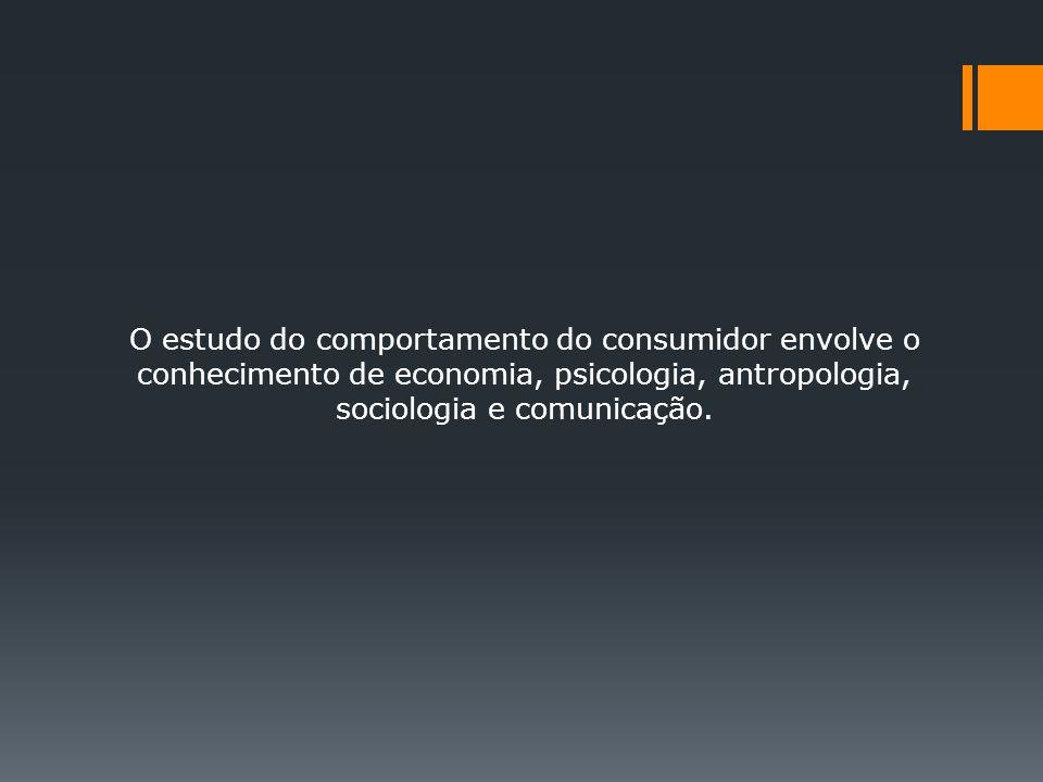 O estudo do comportamento do consumidor envolve o conhecimento de economia, psicologia, antropologia, sociologia e comunicação.
