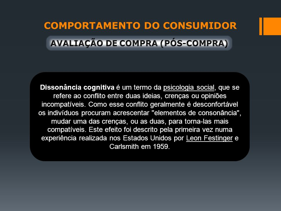 COMPORTAMENTO DO CONSUMIDOR AVALIAÇÃO DE COMPRA (PÓS-COMPRA)