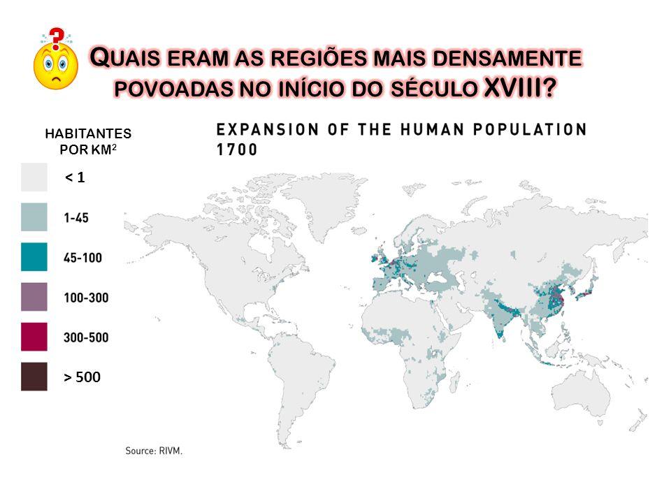 Quais eram as regiões mais densamente povoadas no início do século XVIII