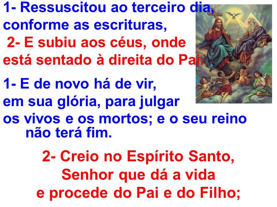 2- Creio no Espírito Santo, e procede do Pai e do Filho;