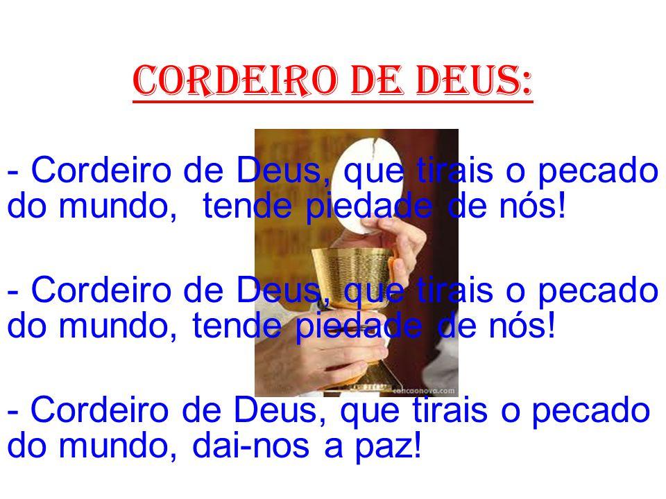 cordeiro de deus: - Cordeiro de Deus, que tirais o pecado do mundo, tende piedade de nós!