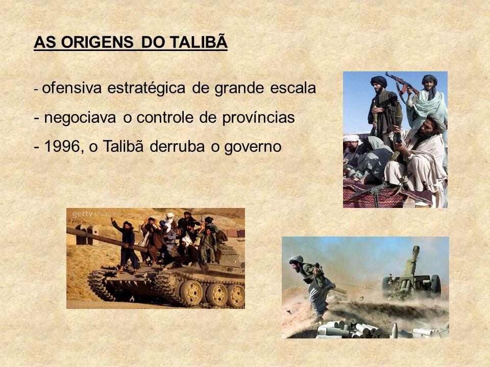 negociava o controle de províncias - 1996, o Talibã derruba o governo