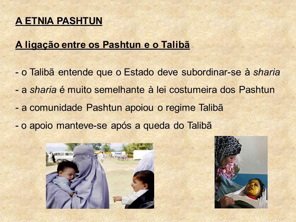 A ETNIA PASHTUN A ligação entre os Pashtun e o Talibã. o Talibã entende que o Estado deve subordinar-se à sharia.