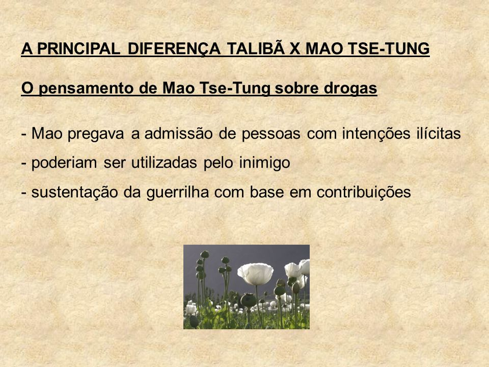 A PRINCIPAL DIFERENÇA TALIBÃ X MAO TSE-TUNG
