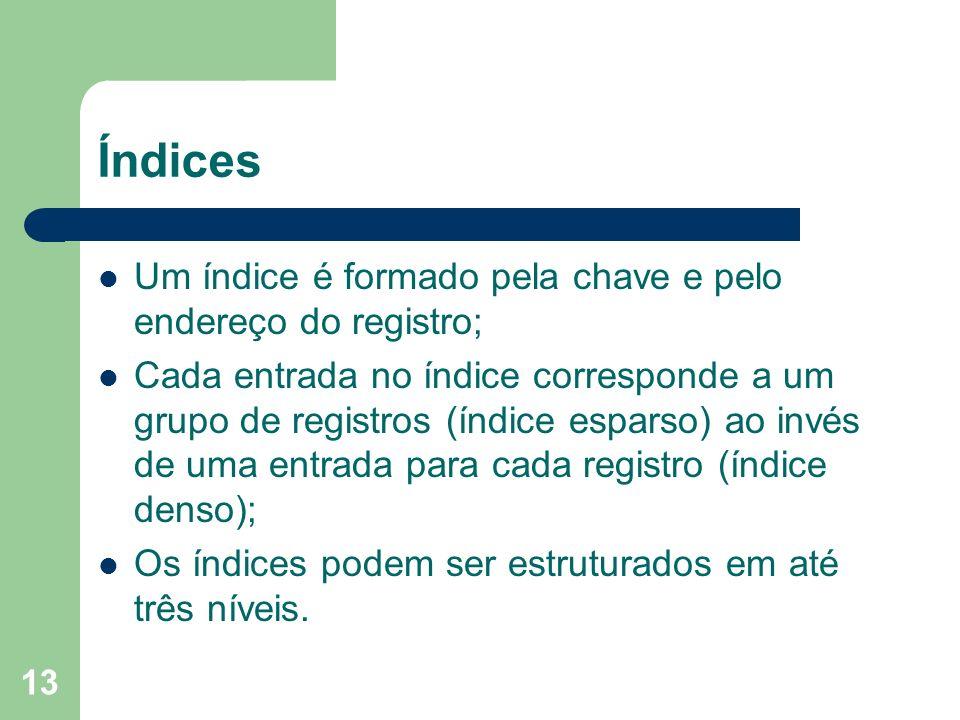 Índices Um índice é formado pela chave e pelo endereço do registro;