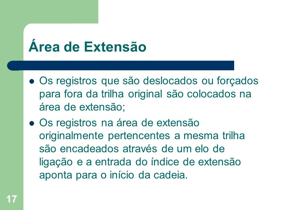 Área de Extensão Os registros que são deslocados ou forçados para fora da trilha original são colocados na área de extensão;