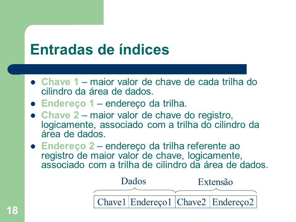 Entradas de índices Chave 1 – maior valor de chave de cada trilha do cilindro da área de dados. Endereço 1 – endereço da trilha.