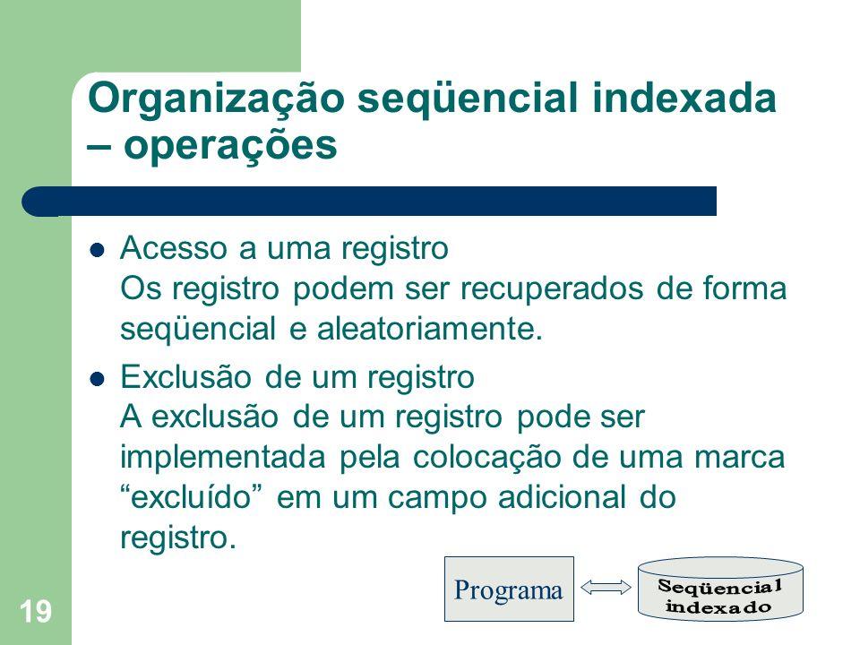 Organização seqüencial indexada – operações
