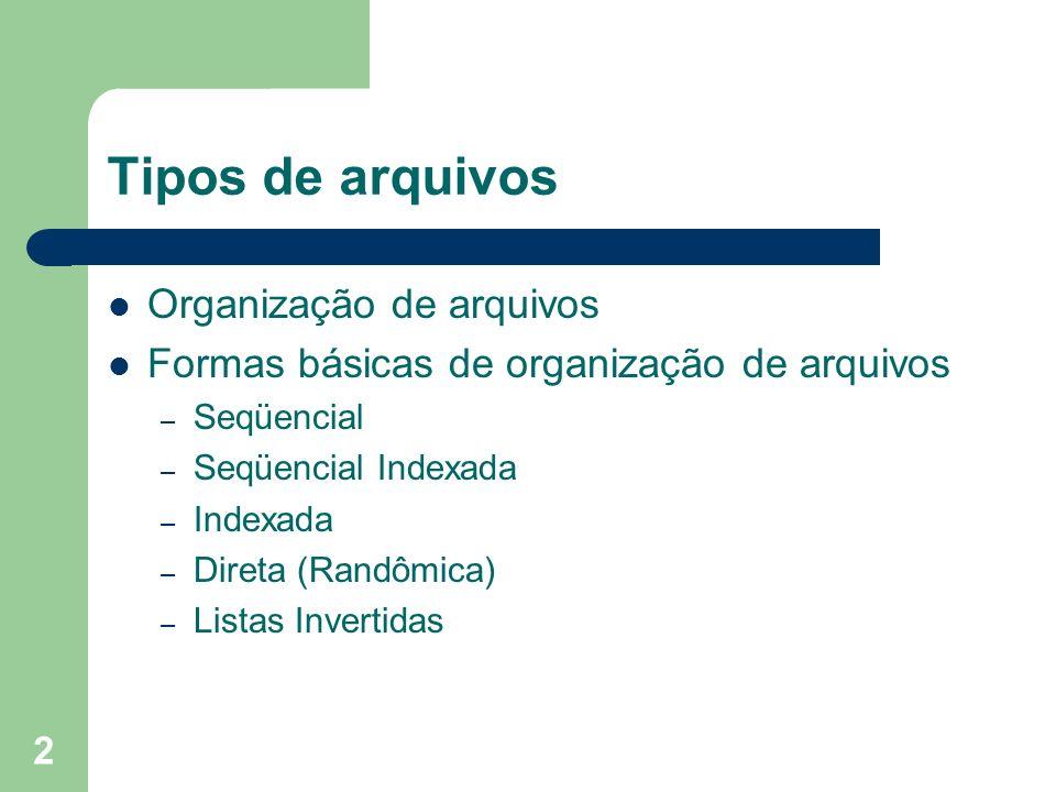 Tipos de arquivos Organização de arquivos