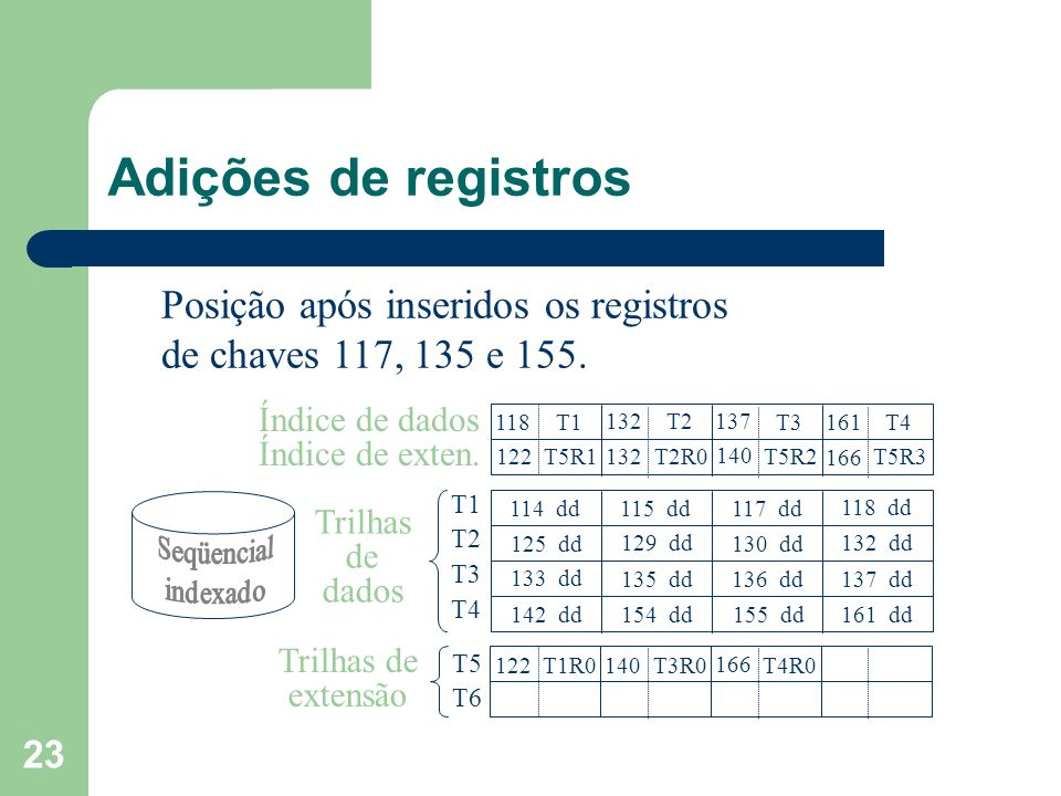 Adições de registros Posição após inseridos os registros