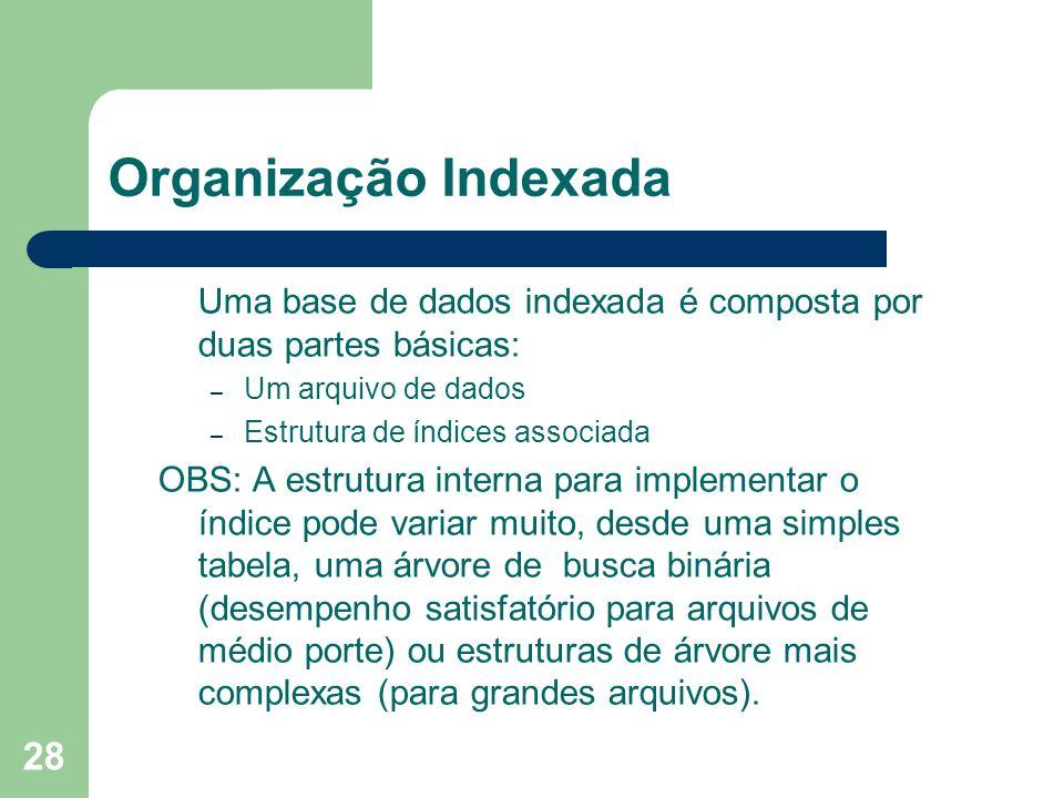 Organização Indexada Uma base de dados indexada é composta por duas partes básicas: Um arquivo de dados.