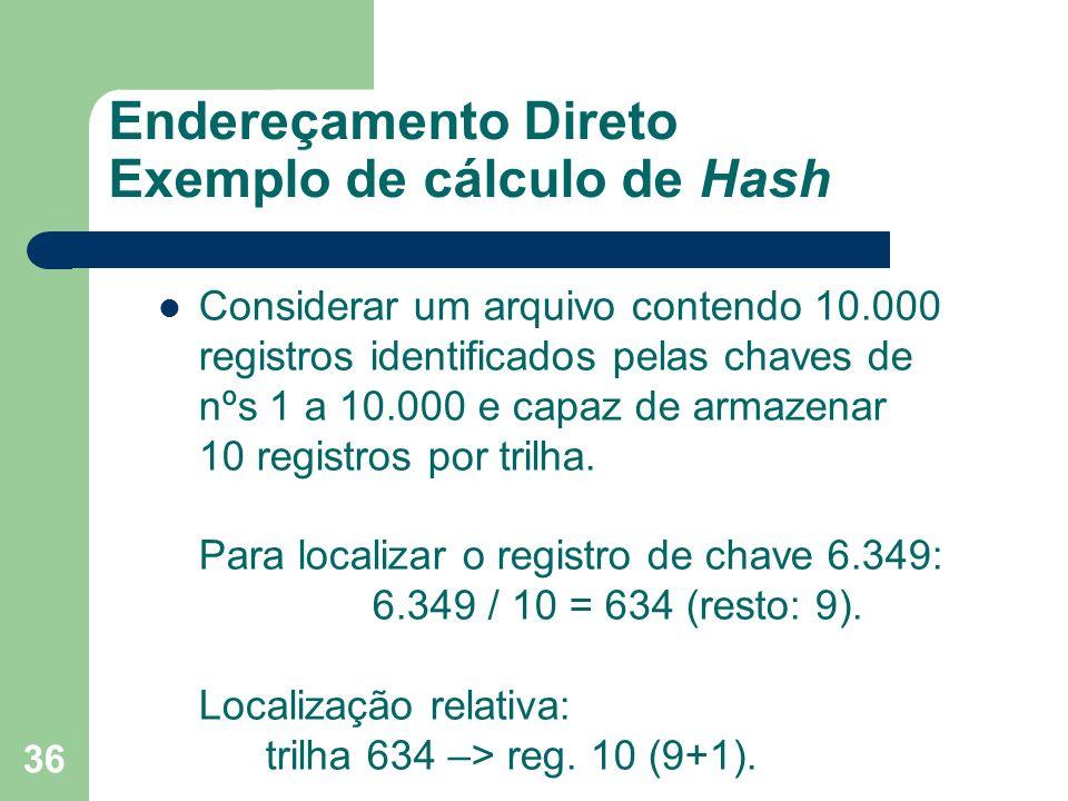 Endereçamento Direto Exemplo de cálculo de Hash