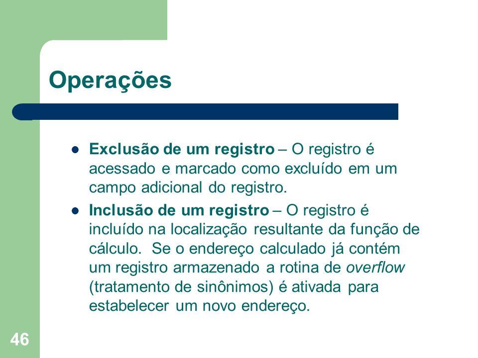 Operações Exclusão de um registro – O registro é acessado e marcado como excluído em um campo adicional do registro.