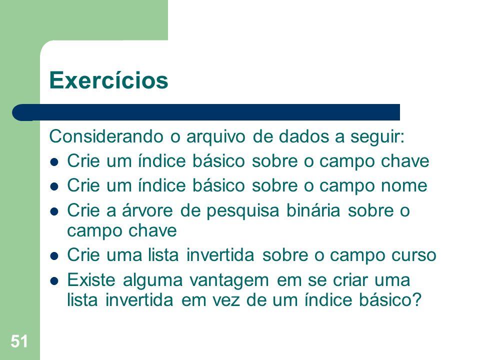 Exercícios Considerando o arquivo de dados a seguir: