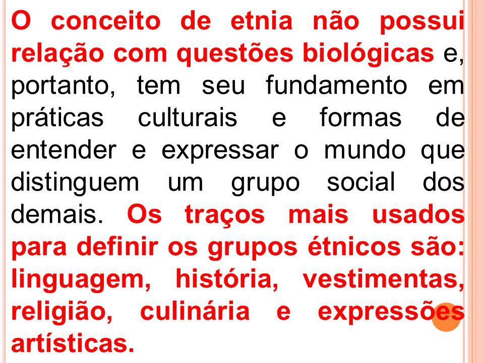 O conceito de etnia não possui relação com questões biológicas e, portanto, tem seu fundamento em práticas culturais e formas de entender e expressar o mundo que distinguem um grupo social dos demais.
