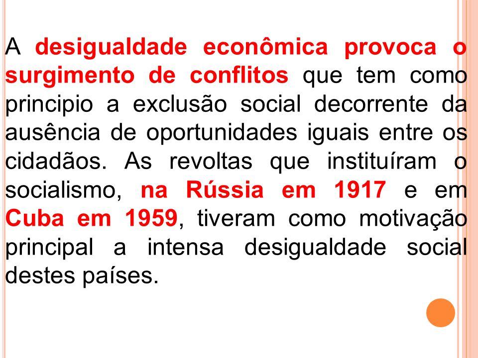 A desigualdade econômica provoca o surgimento de conflitos que tem como principio a exclusão social decorrente da ausência de oportunidades iguais entre os cidadãos.