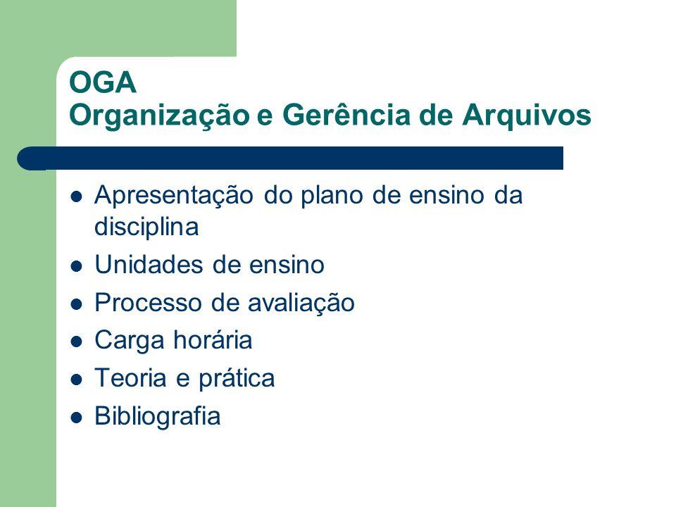 OGA Organização e Gerência de Arquivos