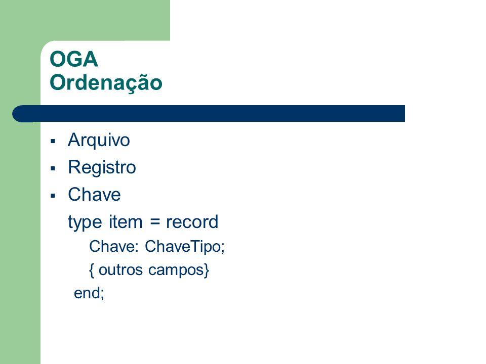 OGA Ordenação Arquivo Registro Chave type item = record