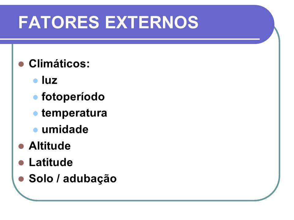 FATORES EXTERNOS Climáticos: luz fotoperíodo temperatura umidade