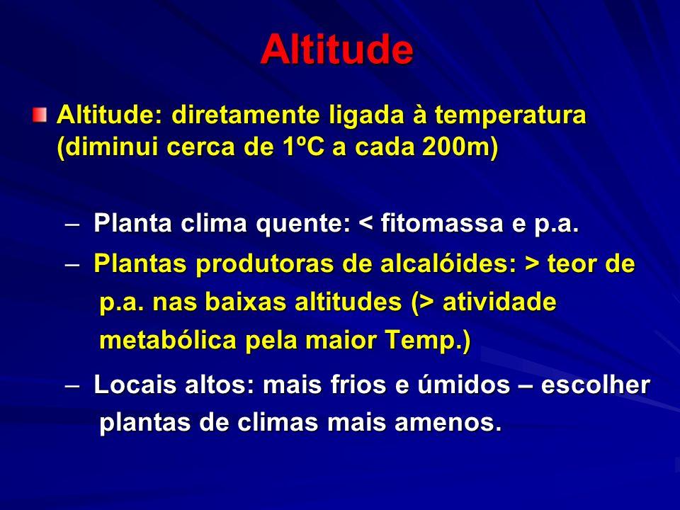 Altitude Altitude: diretamente ligada à temperatura (diminui cerca de 1ºC a cada 200m) Planta clima quente: < fitomassa e p.a.