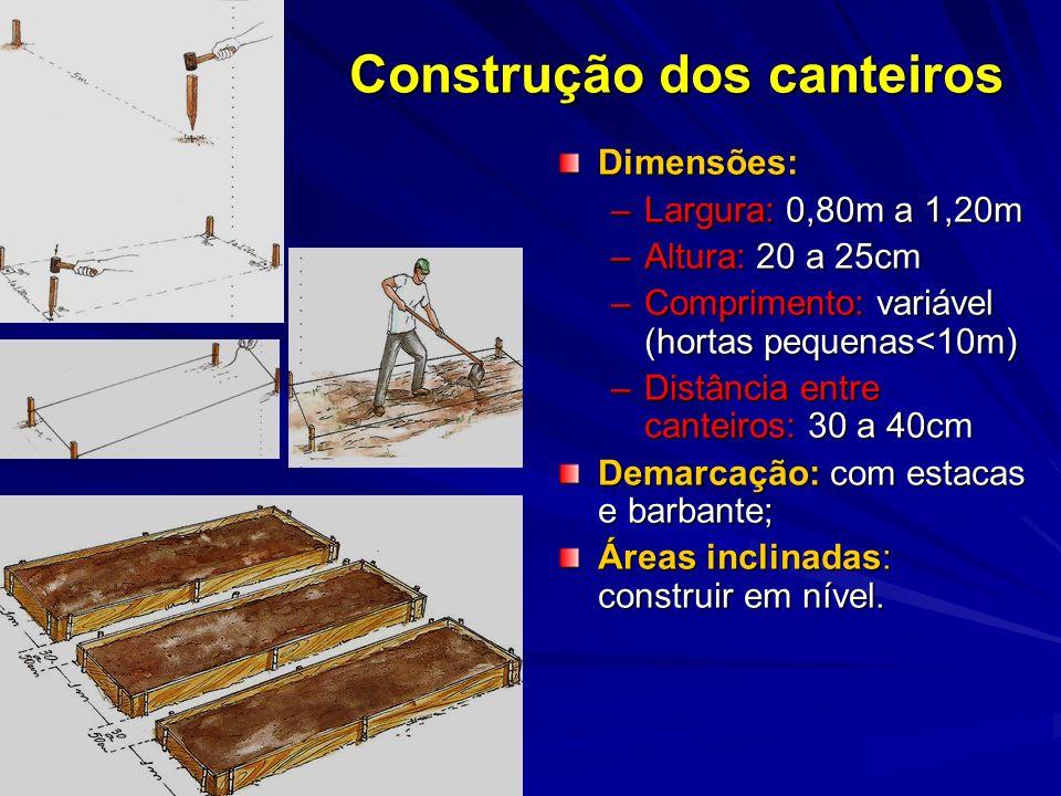Construção dos canteiros
