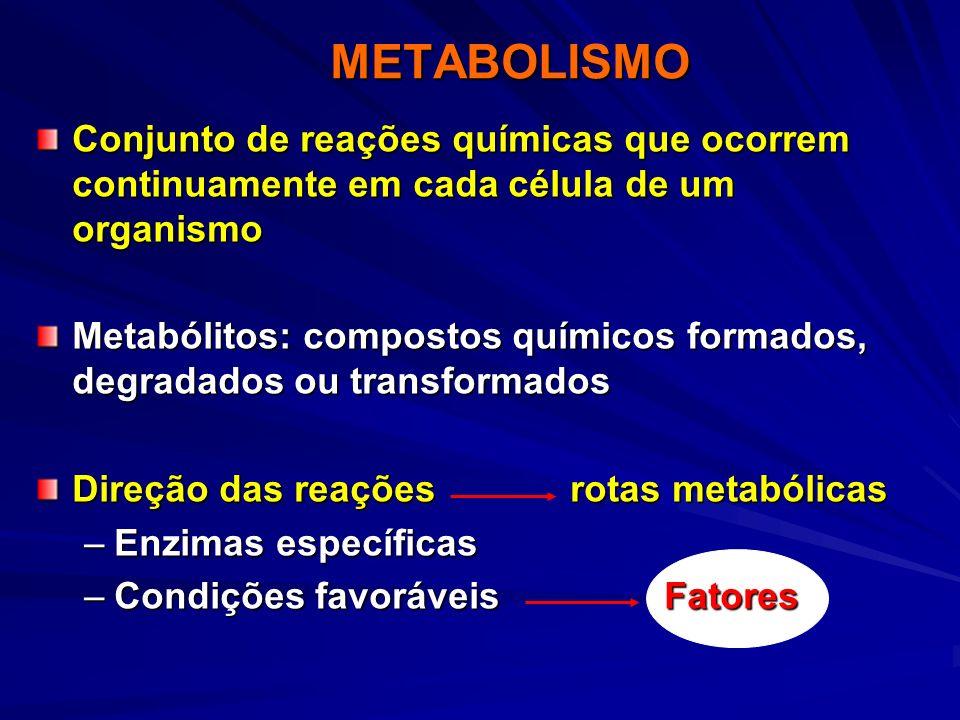 METABOLISMO Conjunto de reações químicas que ocorrem continuamente em cada célula de um organismo.