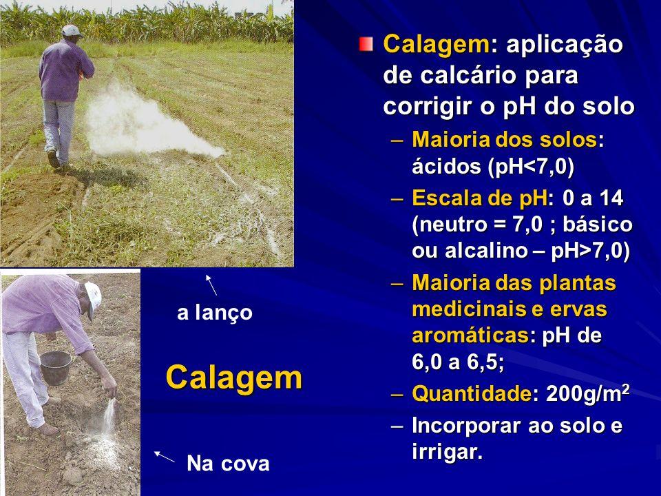 Calagem Calagem: aplicação de calcário para corrigir o pH do solo