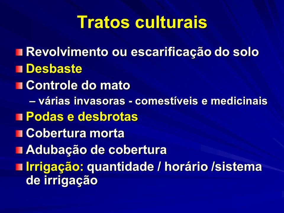 Tratos culturais Revolvimento ou escarificação do solo Desbaste