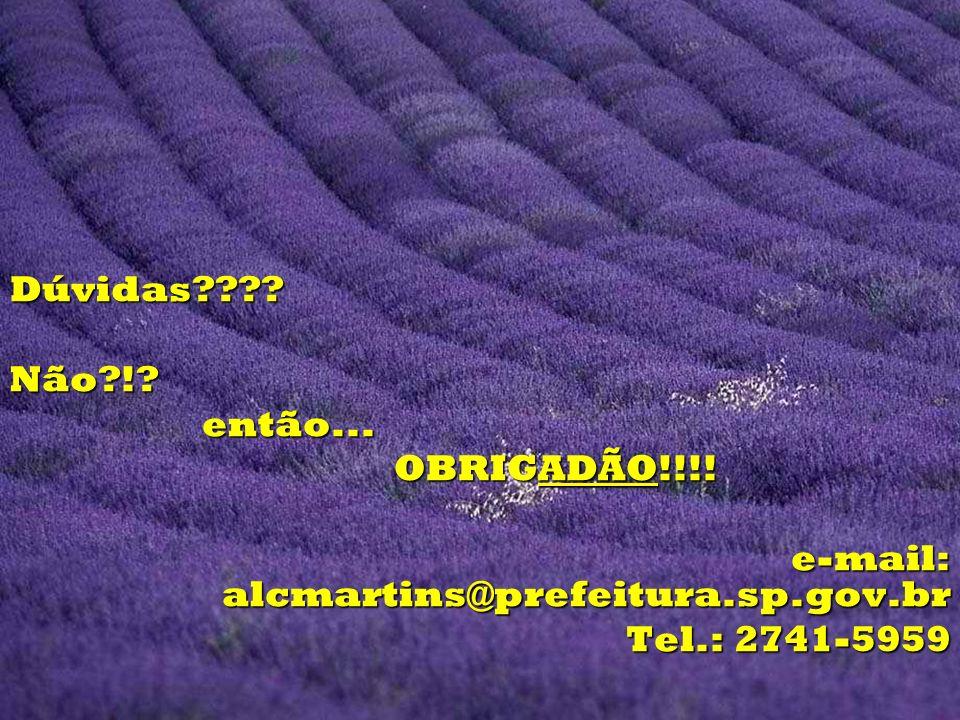 Dúvidas Não ! então... OBRIGADÃO!!!! e-mail: alcmartins@prefeitura.sp.gov.br Tel.: 2741-5959