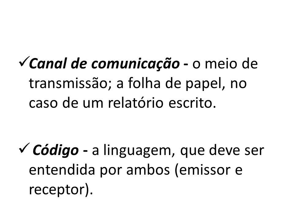 Canal de comunicação - o meio de transmissão; a folha de papel, no caso de um relatório escrito.