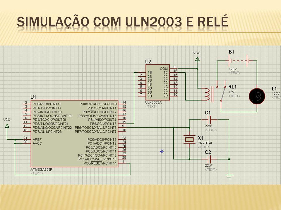 Simulação com ULN2003 e relé