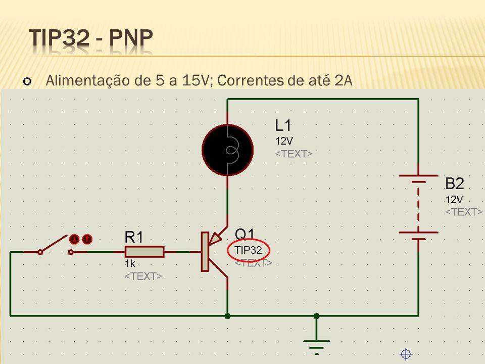 TIP32 - PNP Alimentação de 5 a 15V; Correntes de até 2A