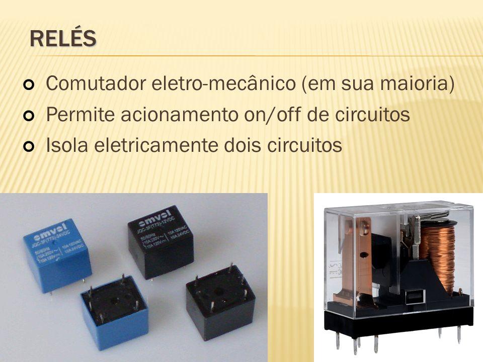 relés Comutador eletro-mecânico (em sua maioria)