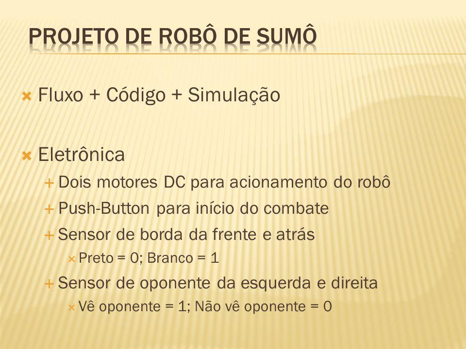 Projeto de robô de sumô Fluxo + Código + Simulação Eletrônica