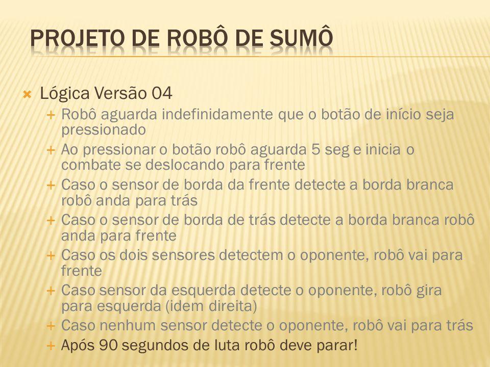 Projeto de robô de sumô Lógica Versão 04