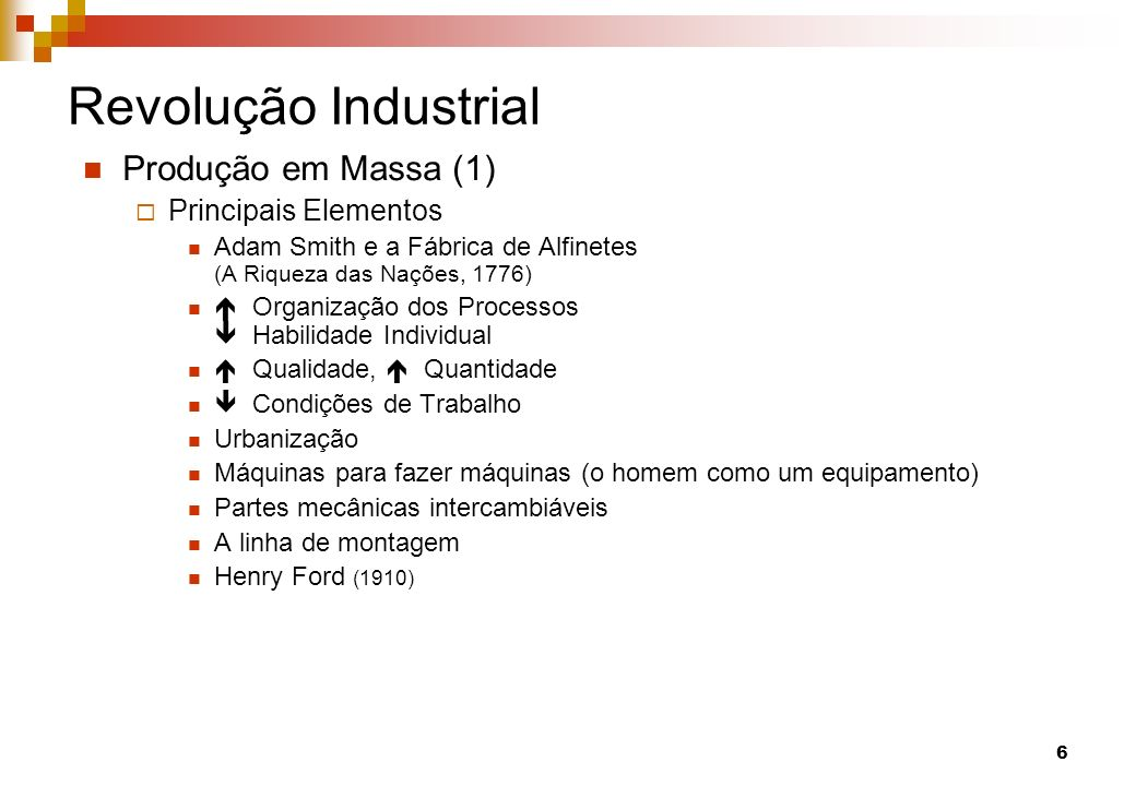 Revolução Industrial Produção em Massa (1) Principais Elementos