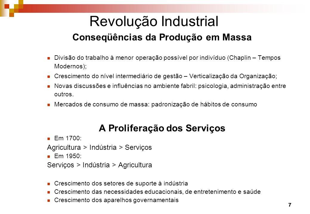 Conseqüências da Produção em Massa A Proliferação dos Serviços
