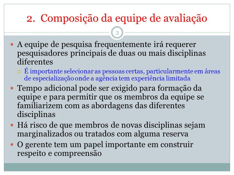 2. Composição da equipe de avaliação