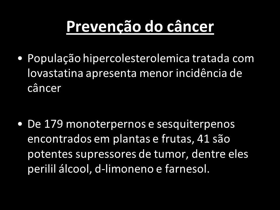 Prevenção do câncer População hipercolesterolemica tratada com lovastatina apresenta menor incidência de câncer.