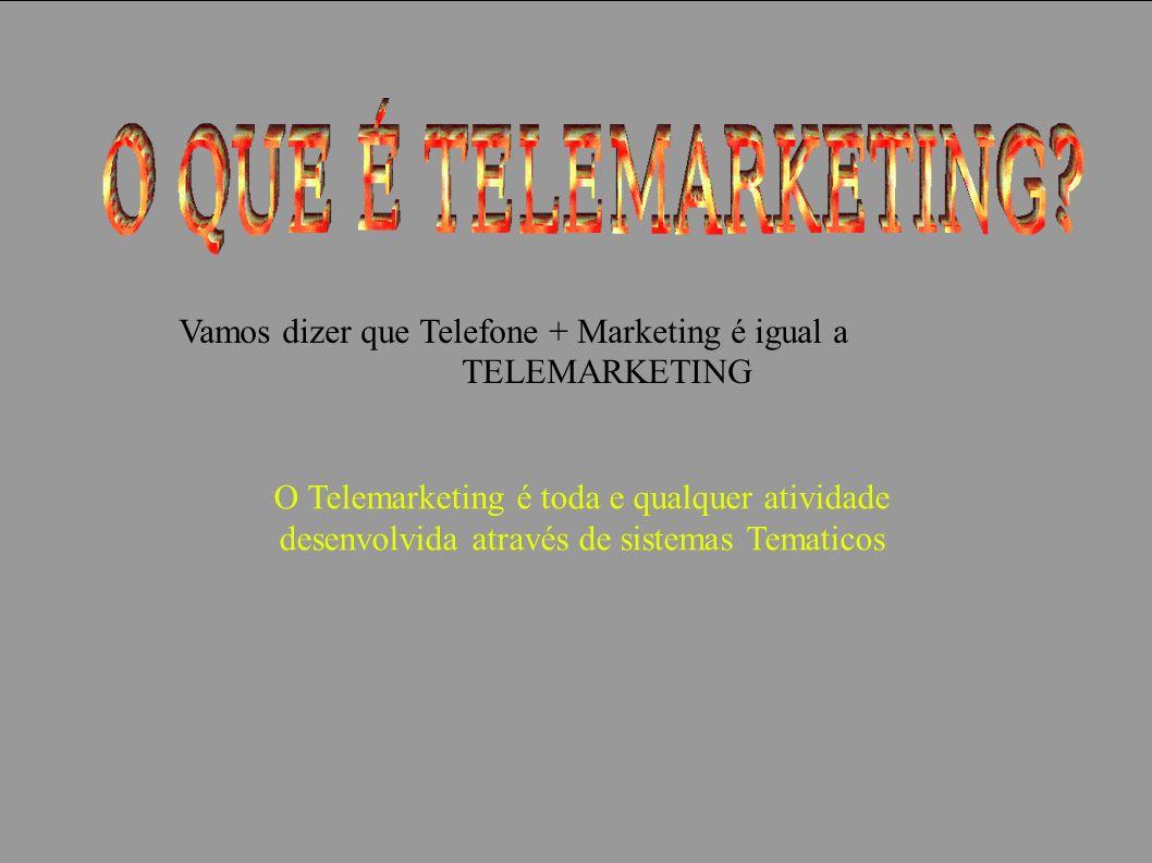 Vamos dizer que Telefone + Marketing é igual a
