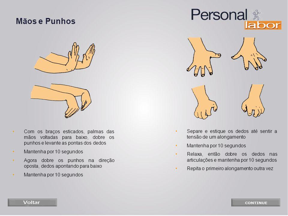 Mãos e Punhos Com os braços esticados, palmas das mãos voltadas para baixo, dobre os punhos e levante as pontas dos dedos.