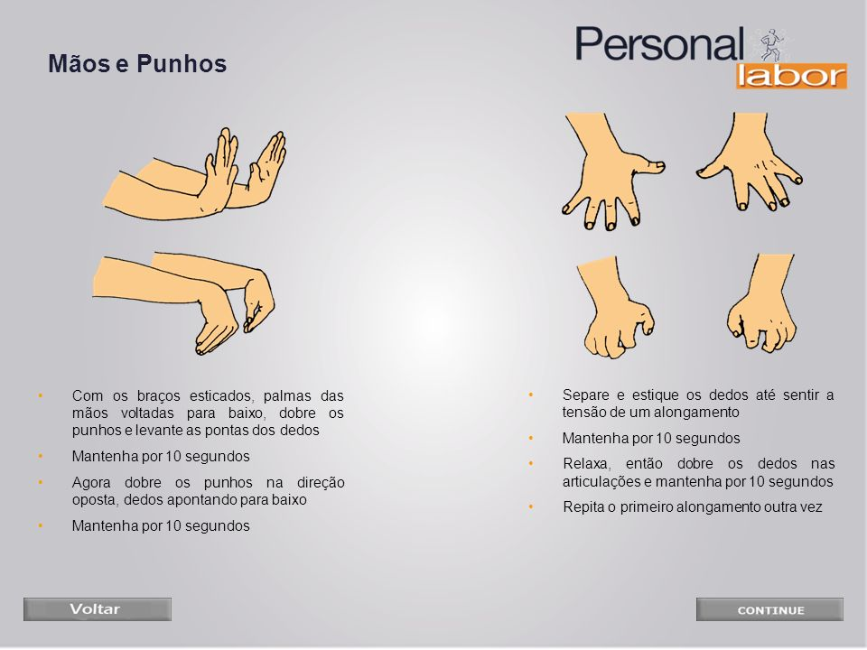 Mãos e PunhosCom os braços esticados, palmas das mãos voltadas para baixo, dobre os punhos e levante as pontas dos dedos.