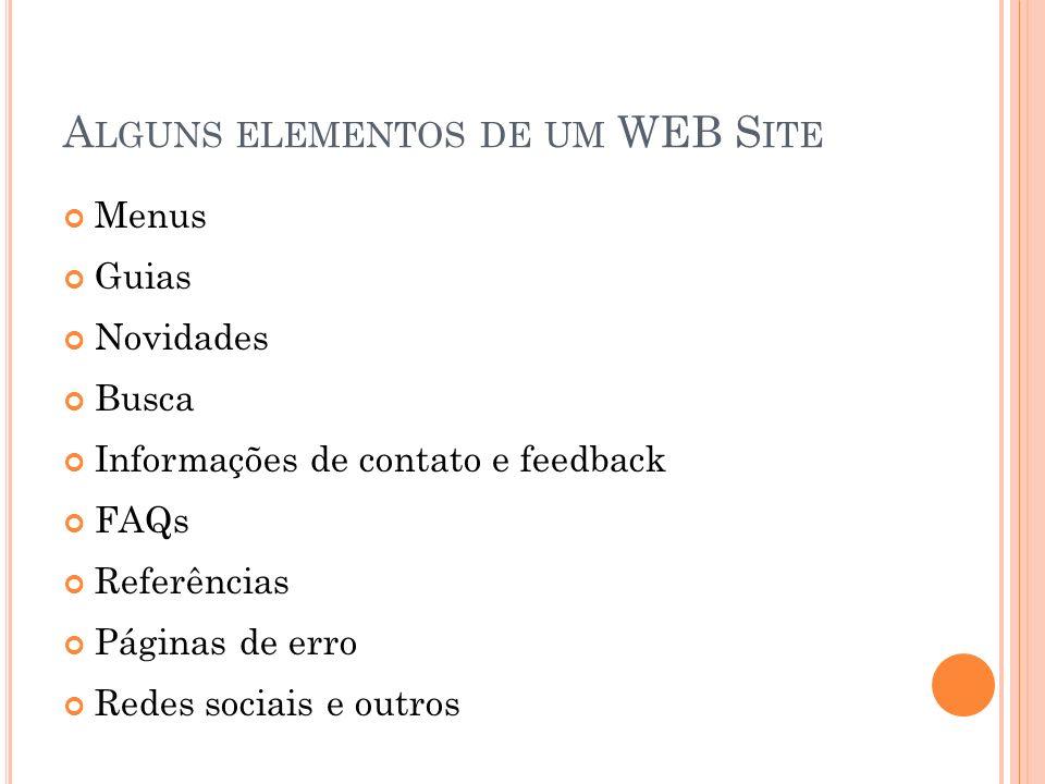 Alguns elementos de um WEB Site